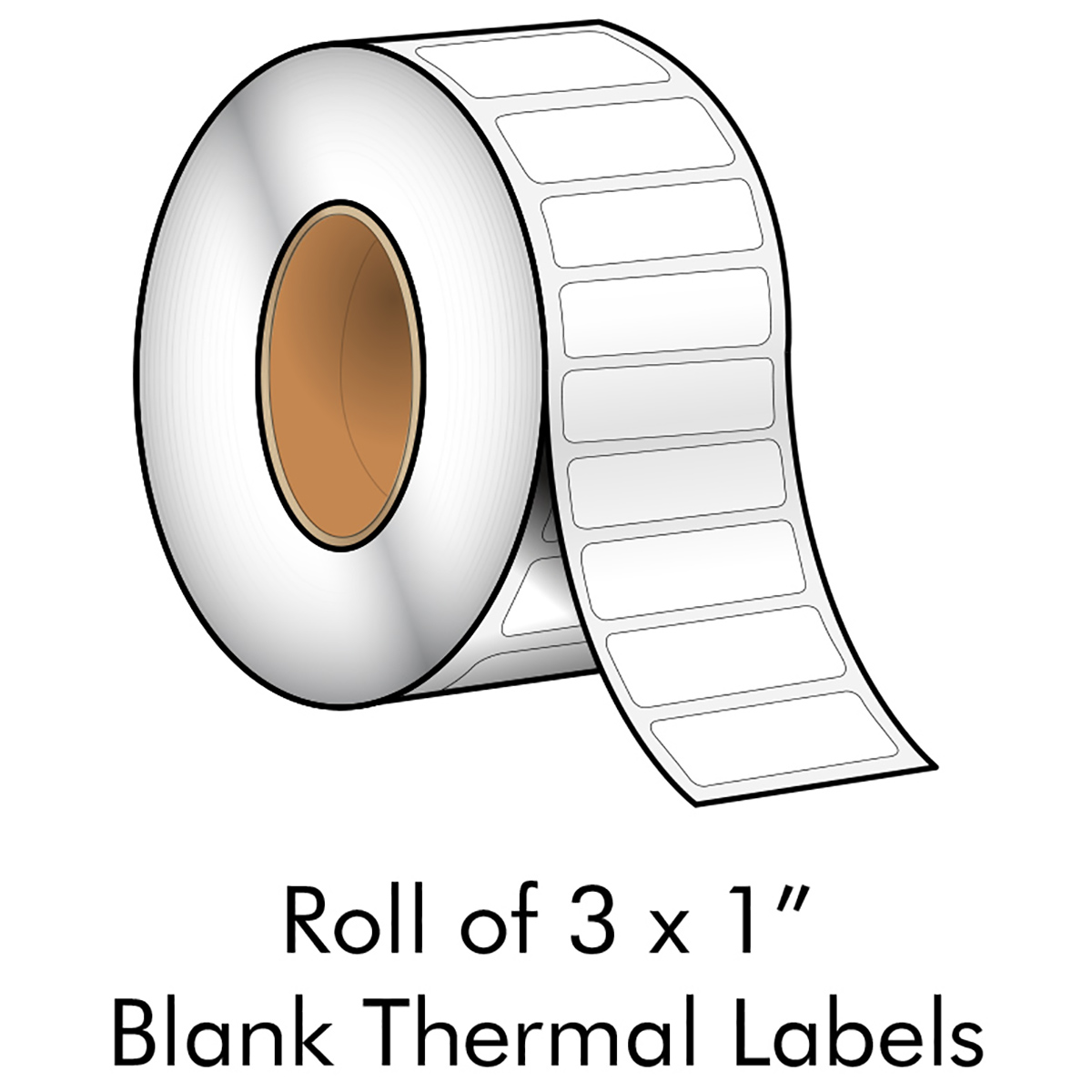 "3"" x 1"" White Blank Thermal Transfer Label - LMCCTL1242AX"