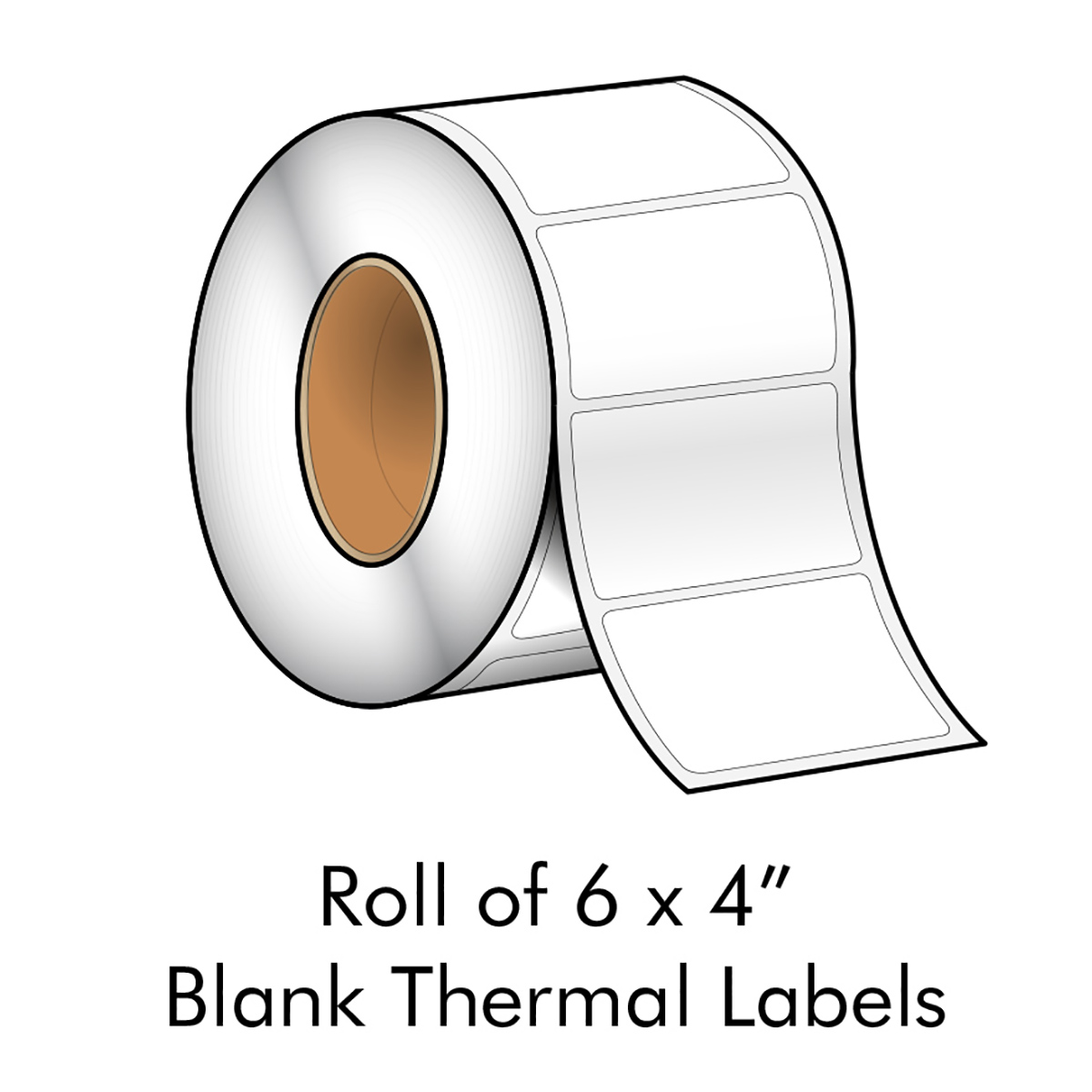 "6"" x 4"" White Blank Thermal Transfer Label - LMCCTL185AX"