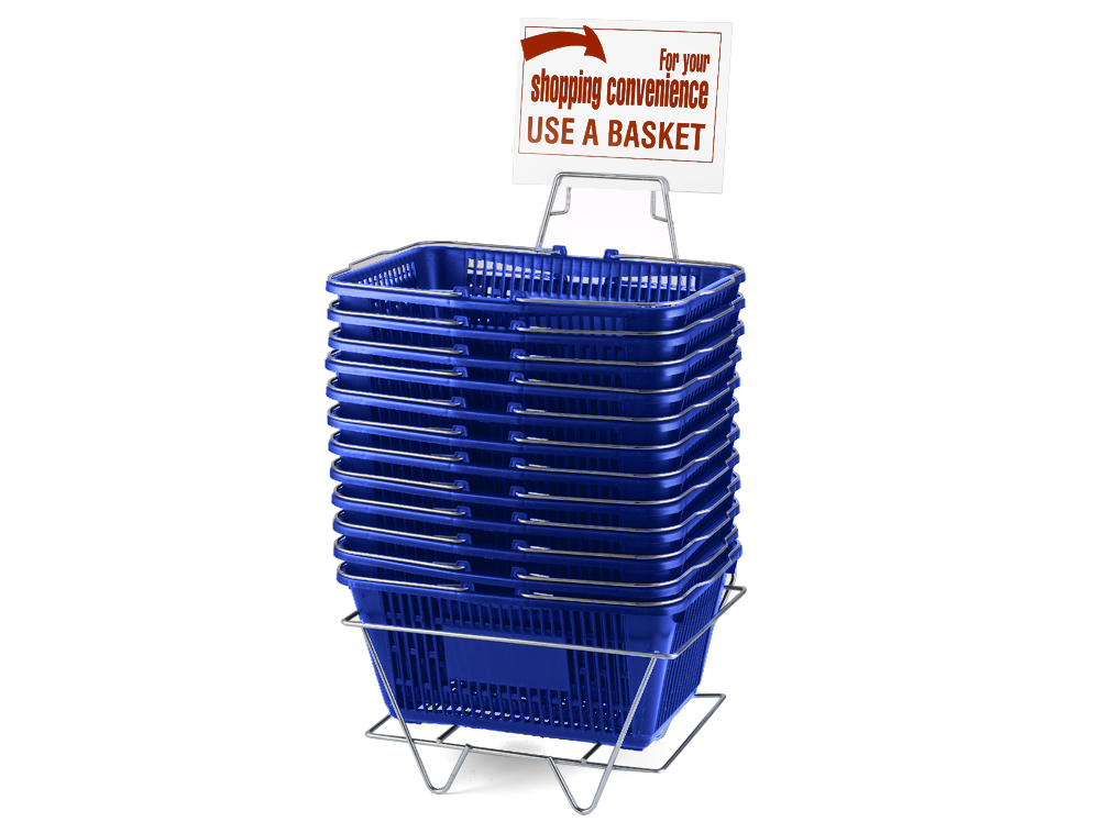 Wire Handle Baskets, Blue, Stand and Sign Set