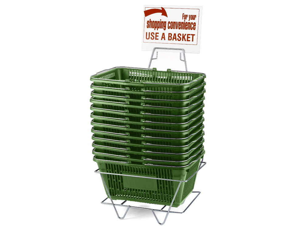 Wire Handle Baskets, Green, Stand and Sign Set