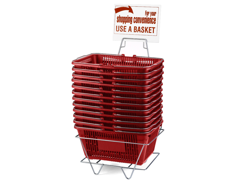 Wire Handle Baskets, Red, Stand and Sign Set