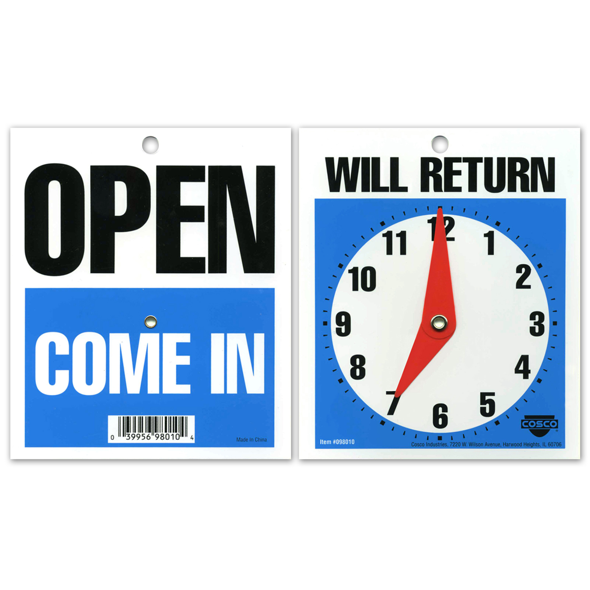 OPEN COME IN/WILL RETURN with Clock - 098010