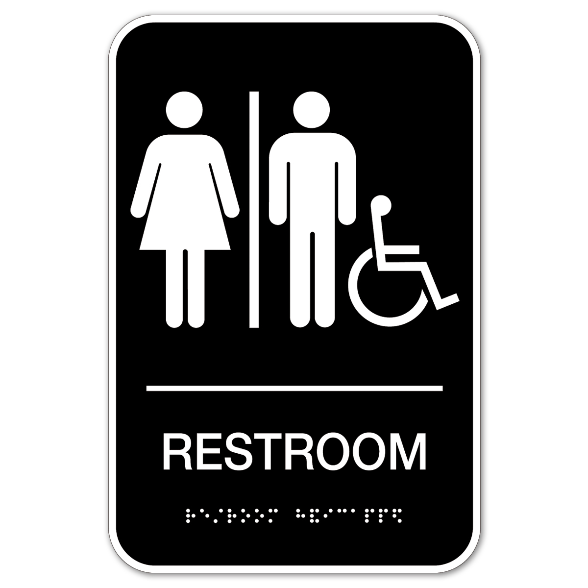 Man|Woman|Wheelchair Restroom Sign