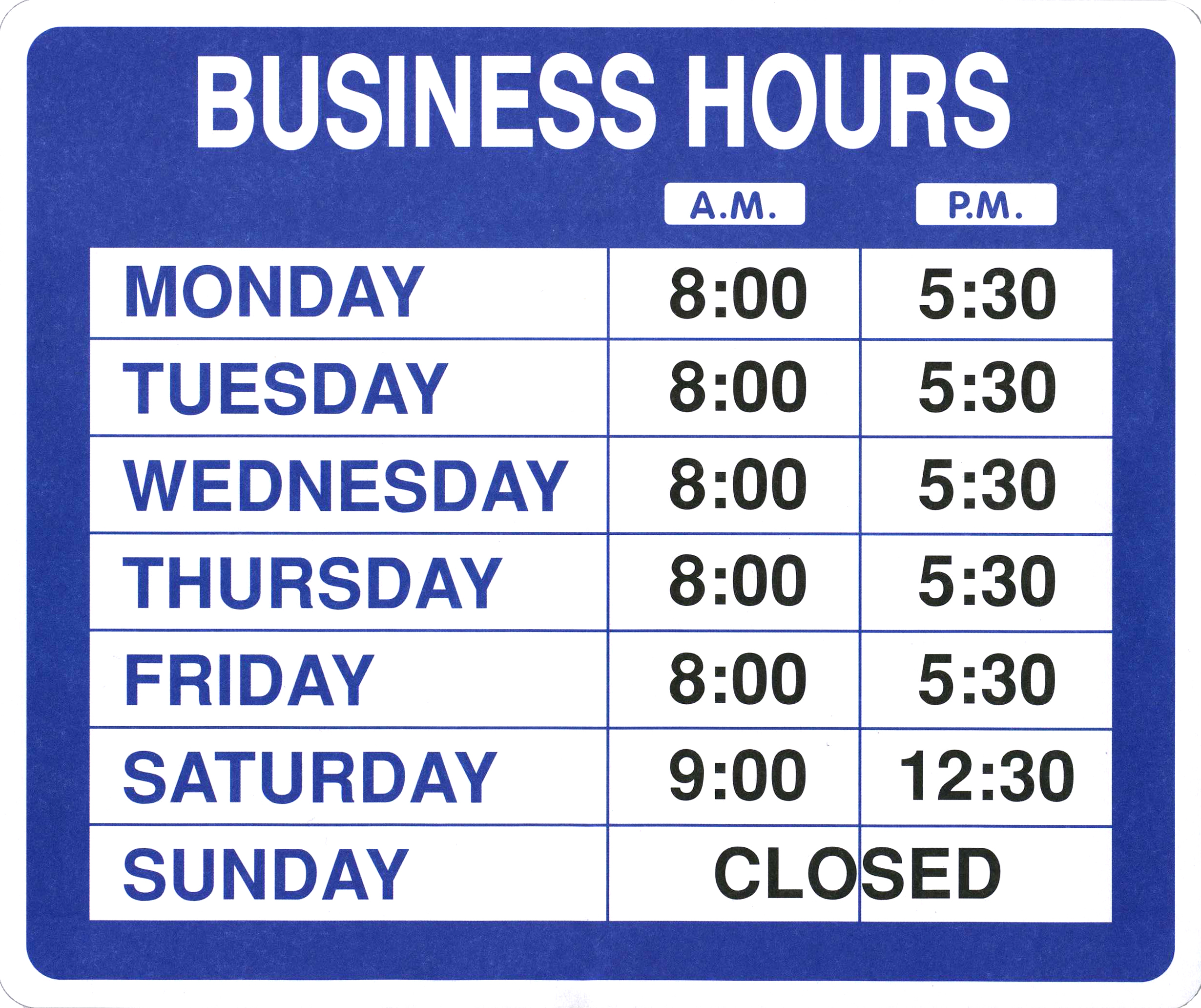 holiday business hours sign template